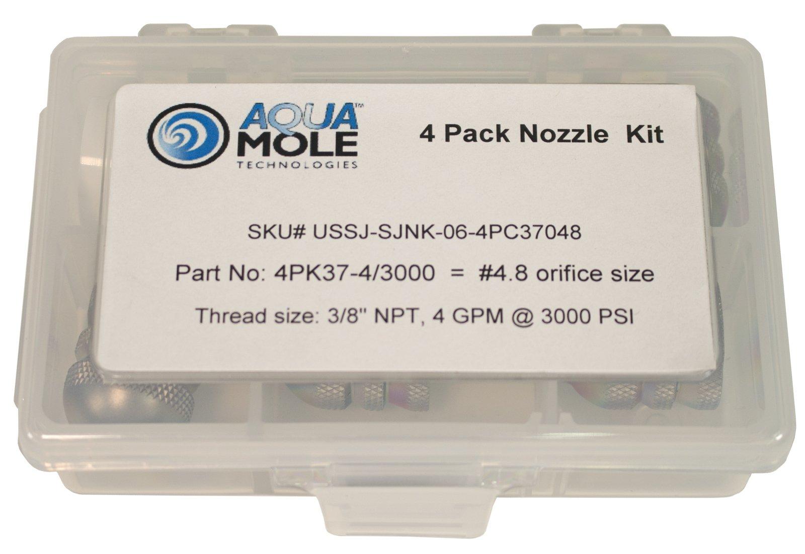 3/8'' NPT Button Nose Sewer Jetter Nozzle 4 Piece Set 4.0 GPM 3000 PSI 4.8 Orifice