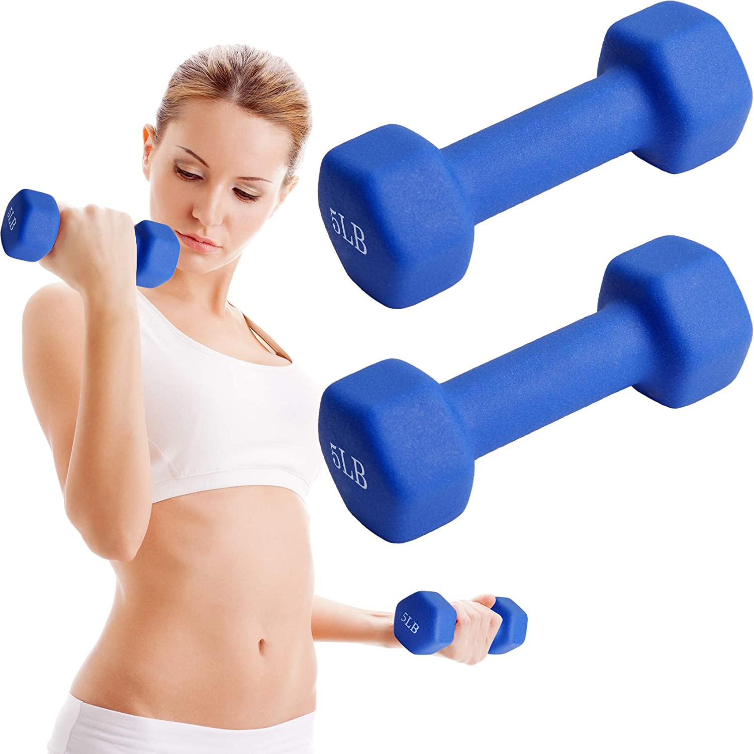 Strength Building Weight Loss Redacel Neoprene Workout Dumbbell Hand Weights,All-Purpose Dumbbells in Pair Non-Slip Made US