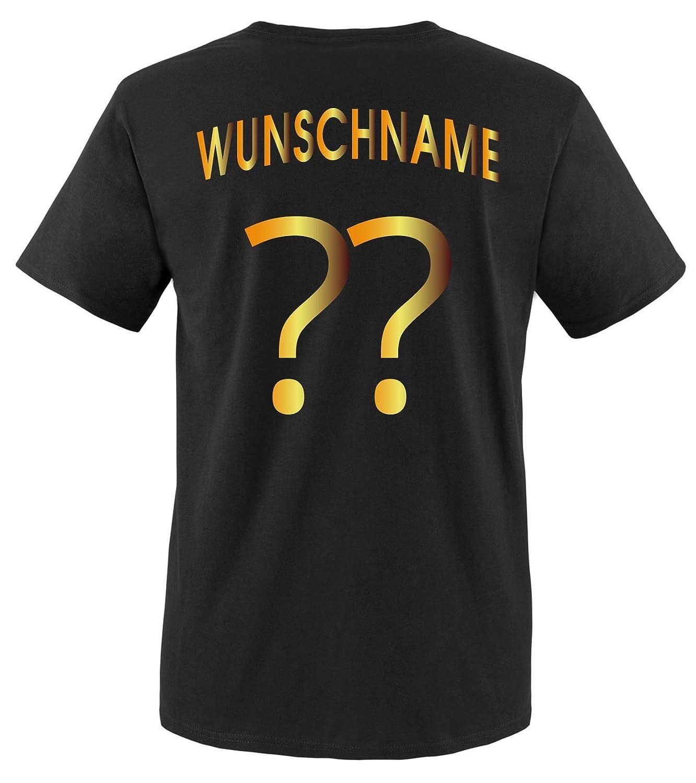 Gr/ö/ßen Comedy Shirts Herren Fu/ßball T-Shirt bedruckbar Deutschland Trikot in div Rundhals Tshirt f/ür Herren in Schwarz WM//EM//Deutschland Wunschname /& Nummer