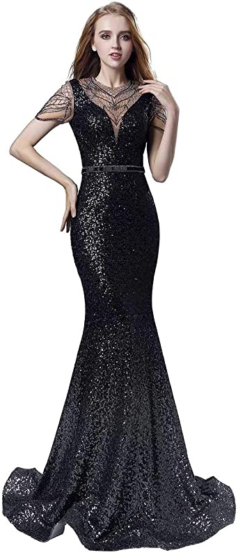 Amazon Com Belle House Long Evening Dress Formal For Women Sheer Neck Prom Dresses 2020 With Sleeve Mermaid Ball Gown Clothing