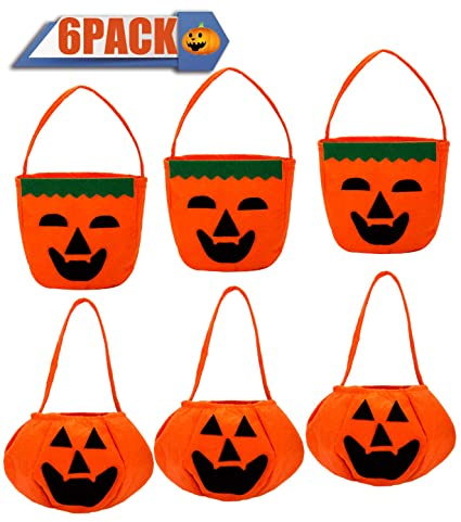 Amazon.com  6 Pack Halloween Pumpkin Candy Bags Goody Bags for ... 71f5759a2036