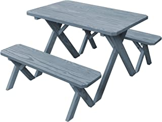 product image for Pressure Treated Pine 4 Foot Cross Leg Picnic Table with Detached Benches- Gray Stain