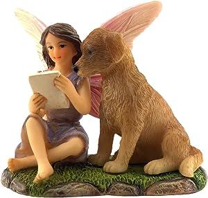 PRETMANNS Fairy Garden Fairies Accessories – Outdoor Fairy Figurine for a Miniature Garden – Sitting Fairy Sofia is with her Puppy Dog, Charlie –Fairy Garden Supplies - 1 Piece