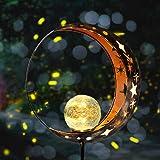 Fertgo Garden Solar Light Outdoor Decorative, Moon Decor, Crackle Glass Ball Metal Garden Stake Light for Pathway, Lawn, Pati