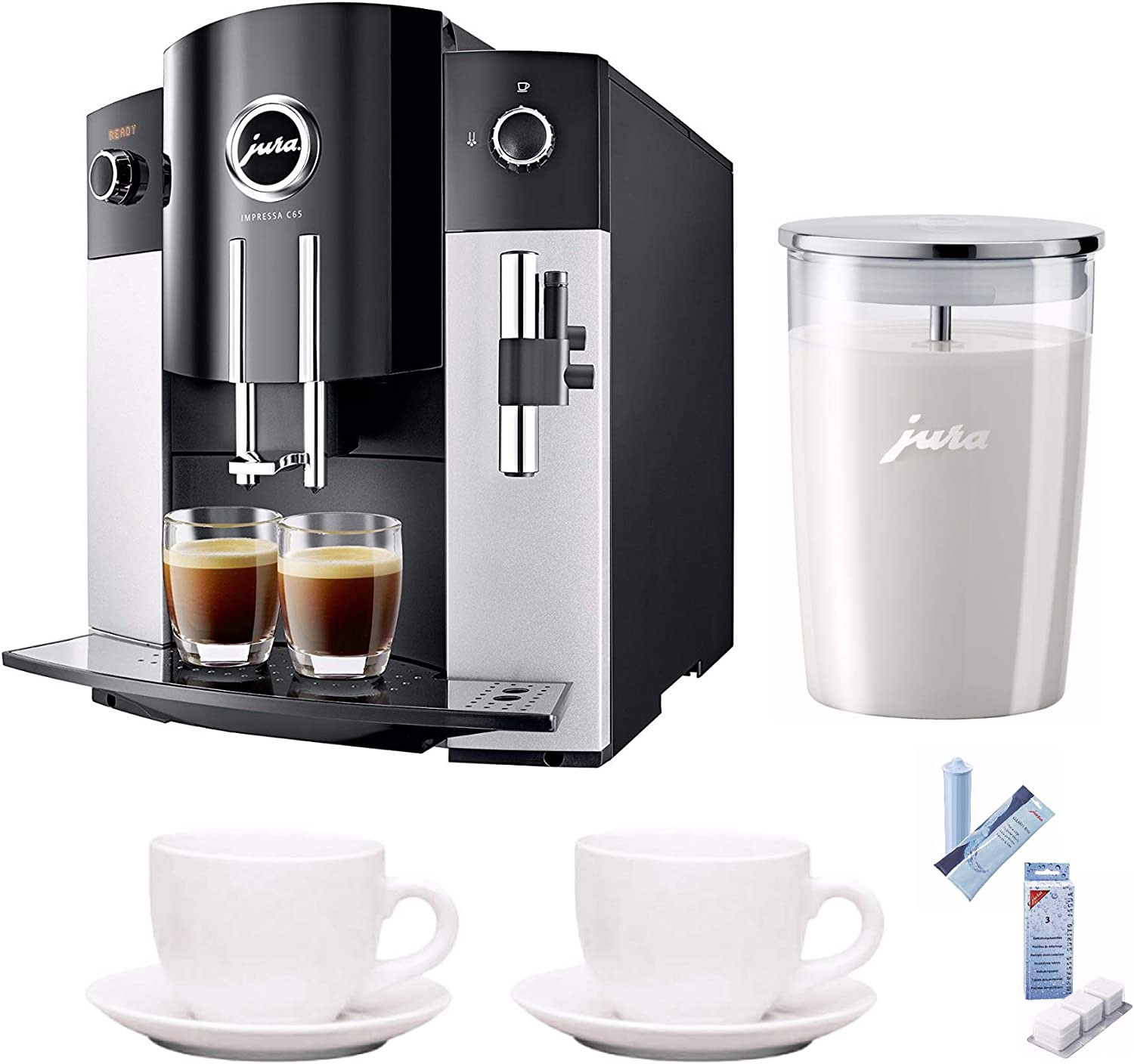 Jura 15068 IMPRESSA C65 Automatic Coffee Machine, Platinum Includes Jura Milk Container, Care Cartridge, Decalcifying Tablets and Set of Ceramic Cups
