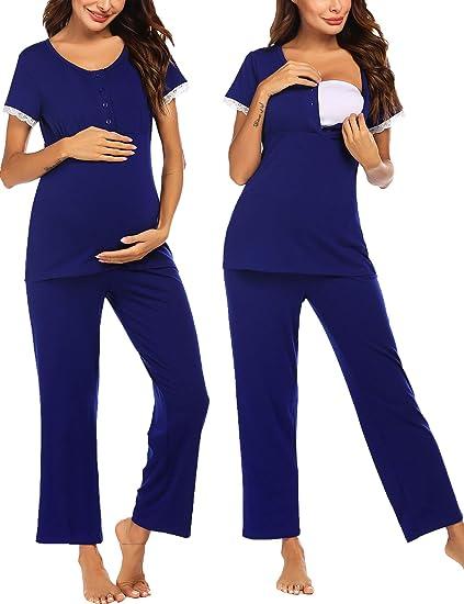 Hawiton Womens Maternity Pyjamas Set Soft Cotton Long Sleeved Nursing Tops PJ Set Breastfeeding Nightwear Sleepwear