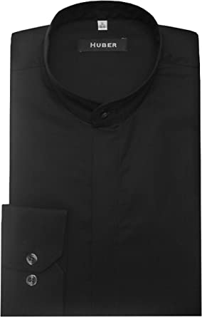 Huber - Camisa de cuello alzado festivo, color negro ...