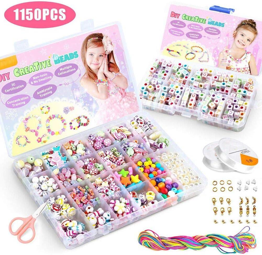 Queta Bricolaje Conjunto de Cuentas,Juguete de Cuentas de Niños 1150 PCS,DIY Set de Perlas,Kit de fabricación de Cuentas como Kit de Regalo para niñas