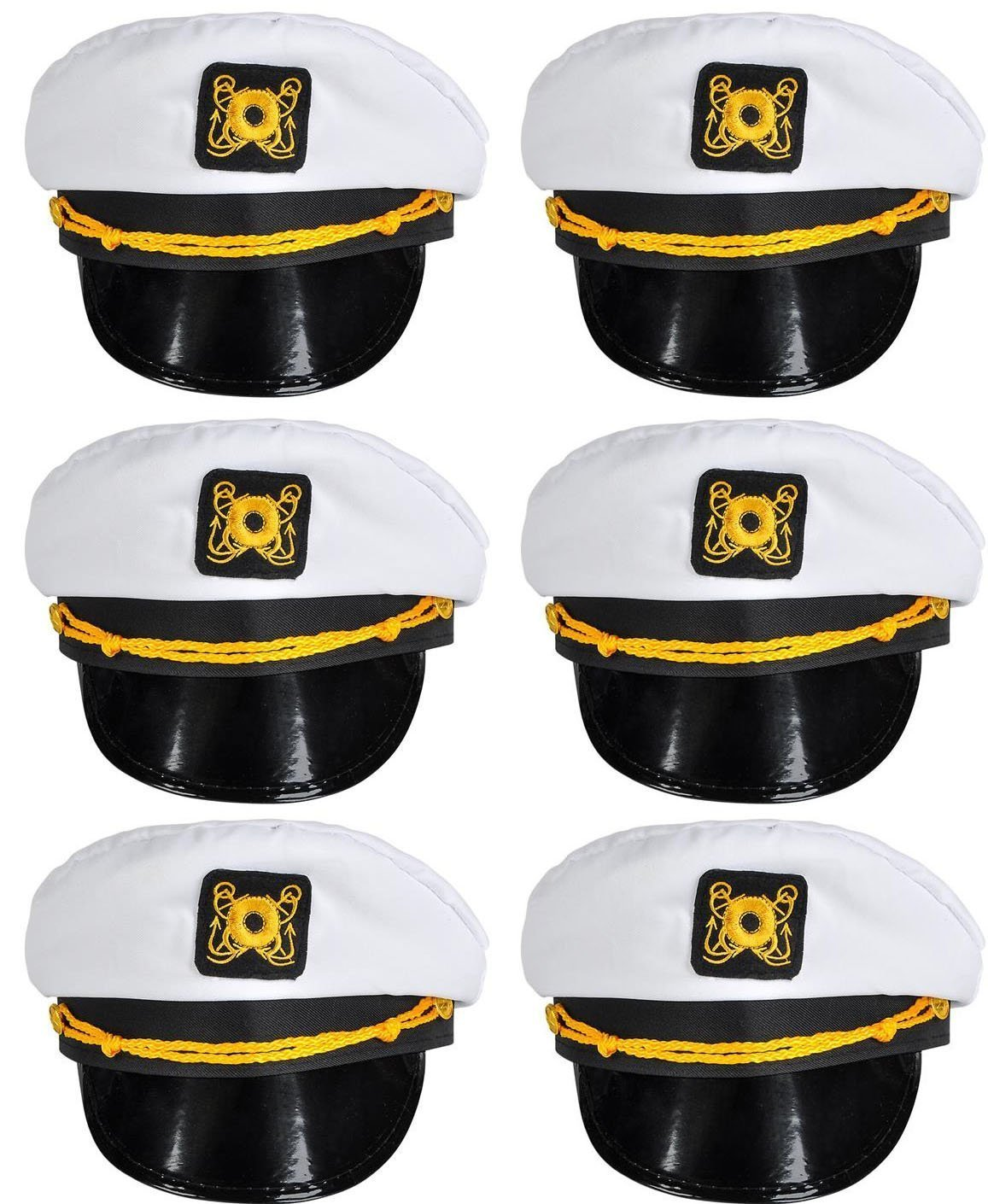 Bottles N Bags White Nautical Captain Sailing Hats (6 Pack) Great Cruise Accessory by