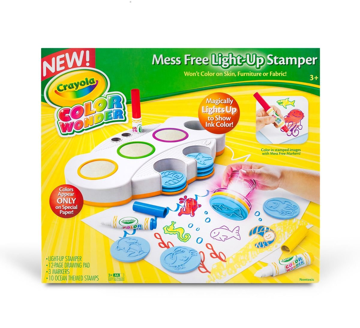 Crayola Color Wonder Mess Free Light-Up Stamper, Gift for Kids, Ages 3, 4, 5, 6