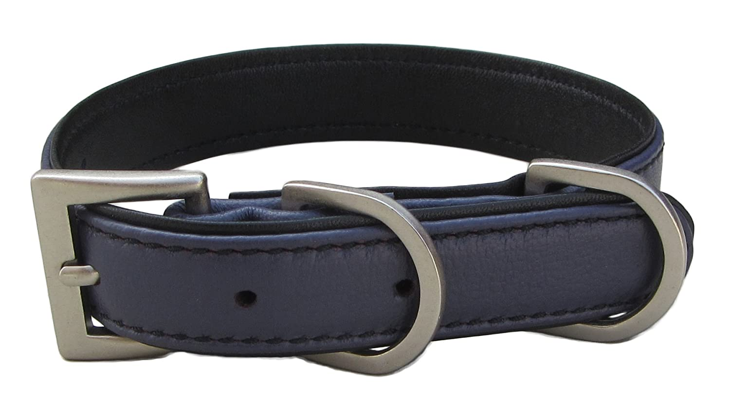 Dark Purple with Black Padding Large neck size 14-18 inches Dark Purple with Black Padding Large neck size 14-18 inches BeauCou Luxury Real Leather Padded Dog Puppy Collar, Dark Purple; Large ; Fits Neck Size 14-18 inches