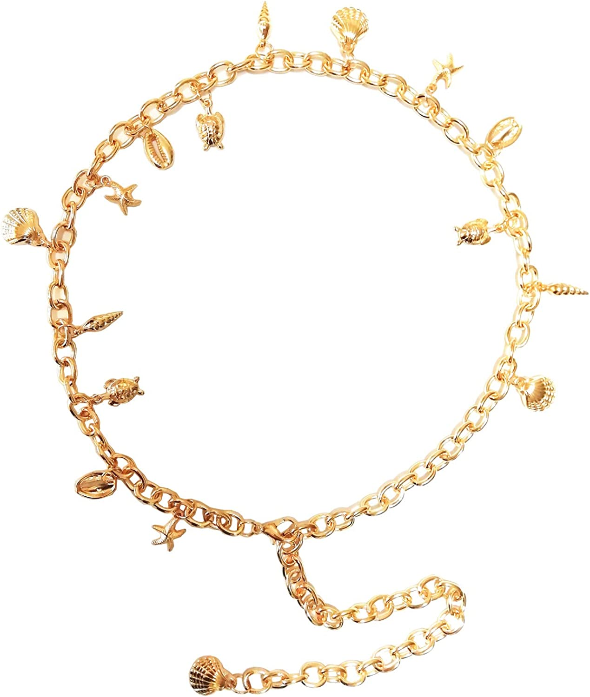 Heng Rui Fashion Metal Chain Belt for Dress Womens Skinny Waist Belt (Gold Sea)
