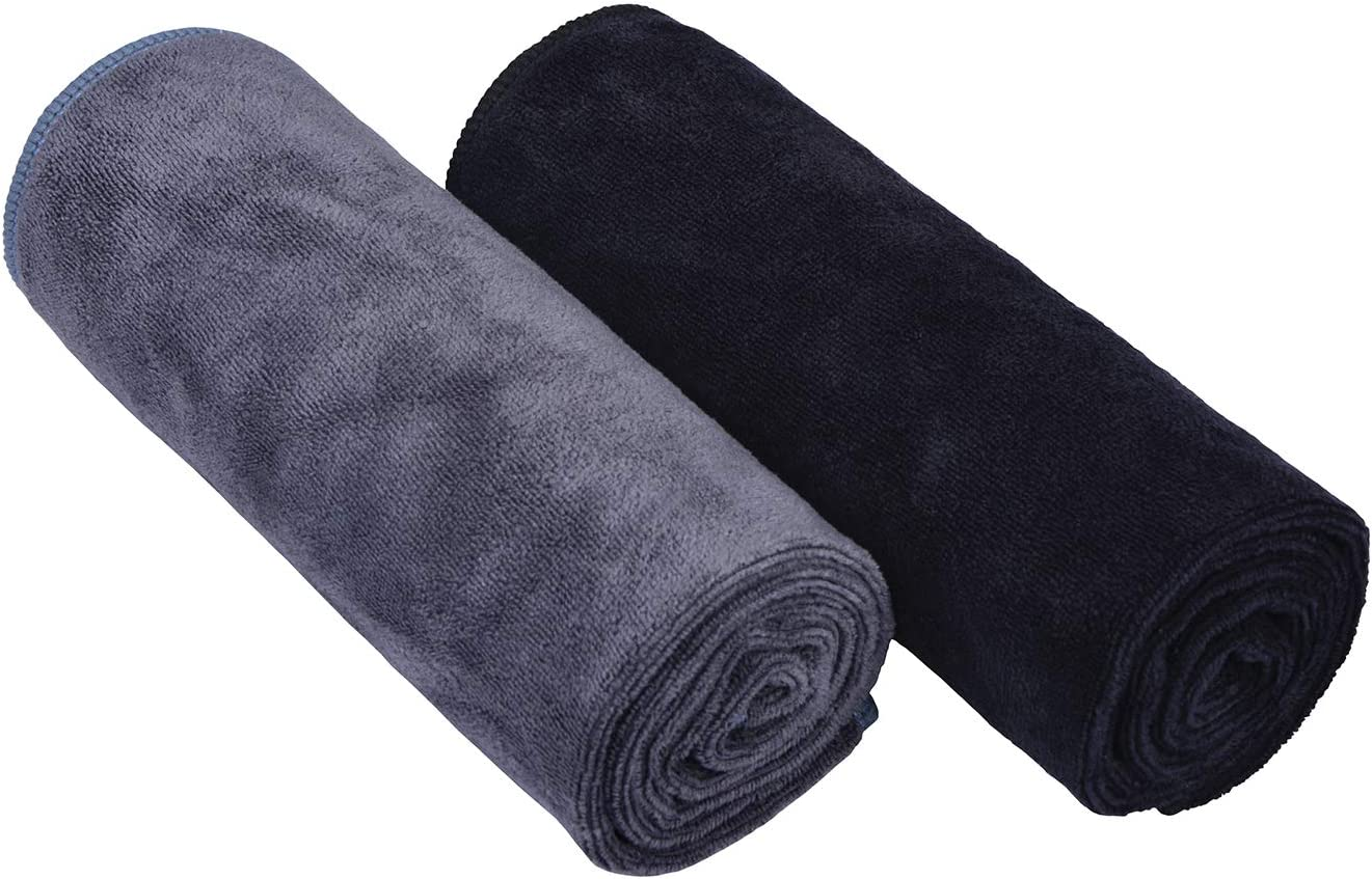 HOPESHINE Home Gyms Towel for Men Women Microfiber Gym Towels Cycling Workout Sweat Towel Set Quick Dry Exercise Sports Travel Towel Fast Drying 2-Pack Black + Grey