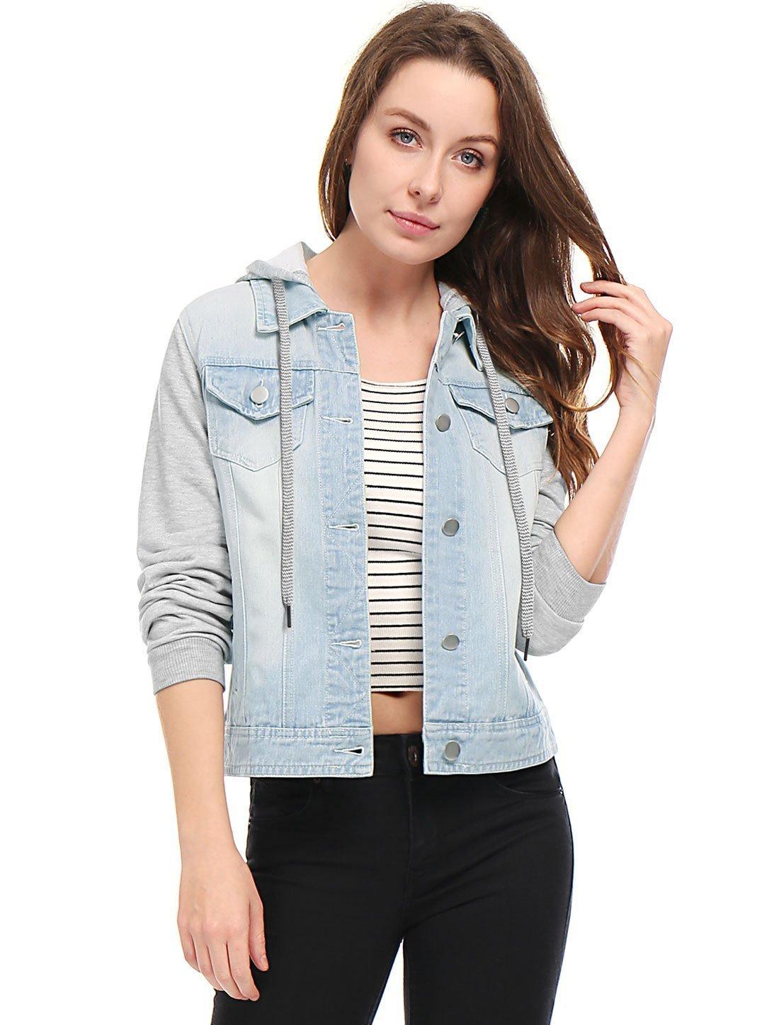 Allegra K Women's Layered Drawstring Hood Denim Jacket w Pockets s18040800it0245