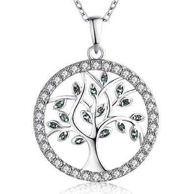 Created Emerald & 925 Sterling Silver Pendant Celtic Tree of Life Design K5TA6AX1