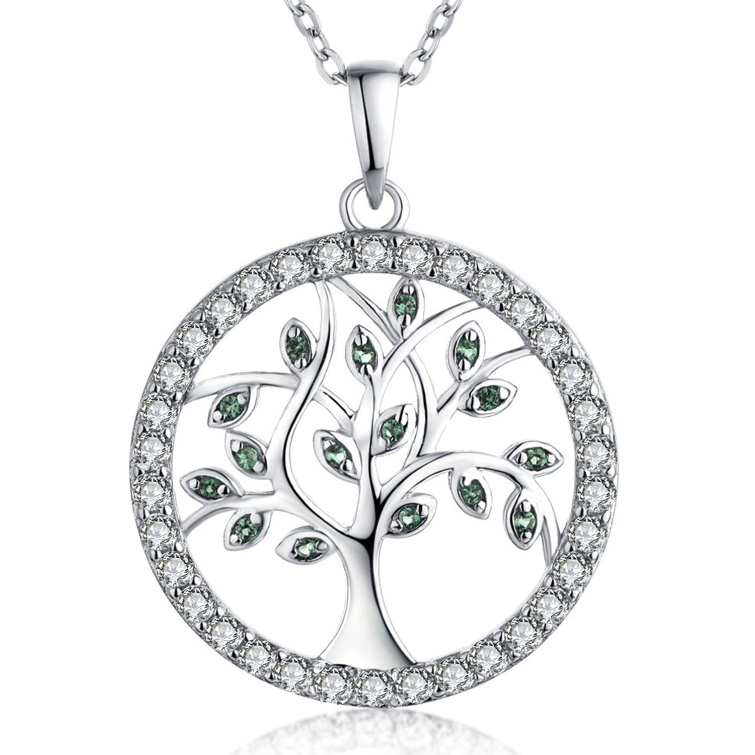 YL Life Tree Pendant for Women Sterling Silver Emerald Necklace Gemstone Rose Jewelry (I:style 3-halo green)