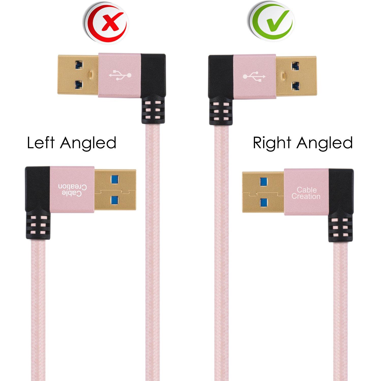 Angolo retto USB 3,0 Maschio a Femmina Cavo Extender Tastiera CableCreation 2-Pack Short USB 3,0 Prolunga Cavo 1 FT Oro Rosa Alluminio Compatibile con Thumb Drives Scanner