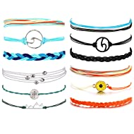 Noharu Vibe Vsco Bracelets Surfer Wave Bracelet for Women Mountain Sunflower Bracelet for Girls Adjustable Friendship Bracelet Waterproof Braided Rope Summer Beach Jewelry