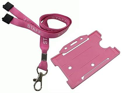Customcard – Rosa Personal Lanyard titular de la tarjeta de identificación de perro de metal con clip rosa