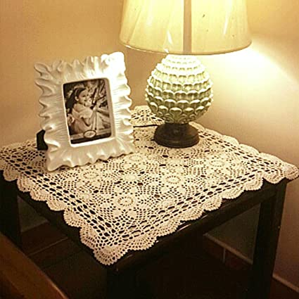 Yazi Tablecloths Crochet Square Table Cover Lace Table Covering Doilies For  Furniture Décor Beige Color 15.7