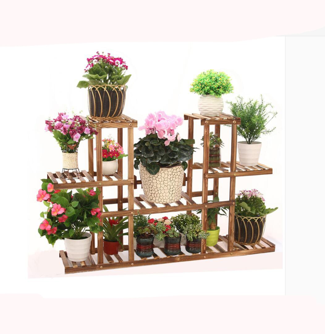 Wooden flower racks Multi-layer floor pot holder Wooden bonsai frame Living room Balcony Indoor showy