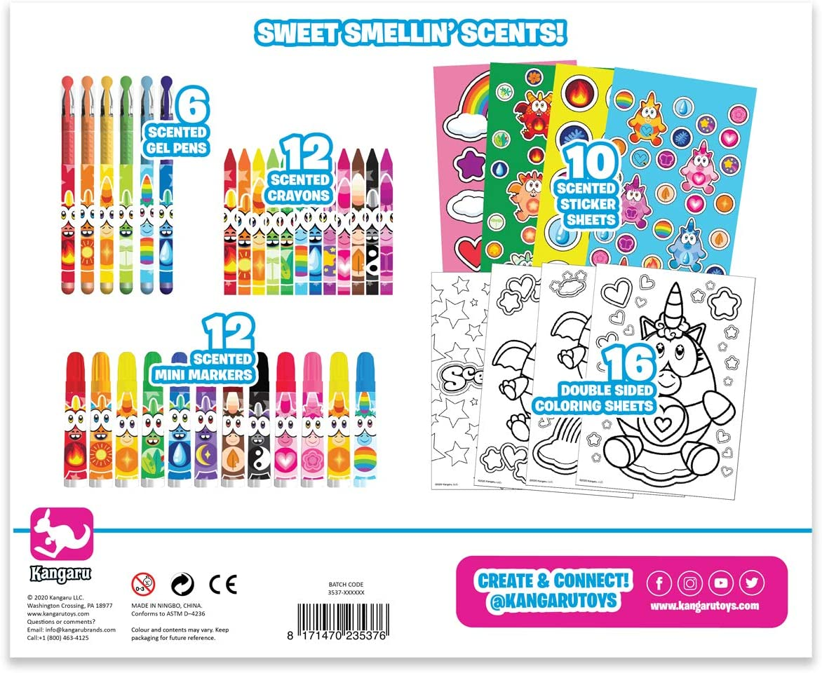 Back to School Supplies SCENTICORNS Kids Scented Stationery Set with 12 Scented Mini Markers 10 Scented Sticker Sheets and 16 Double Sided Coloring Sheets 12 Scented Crayons 6 Scented Gel Pens