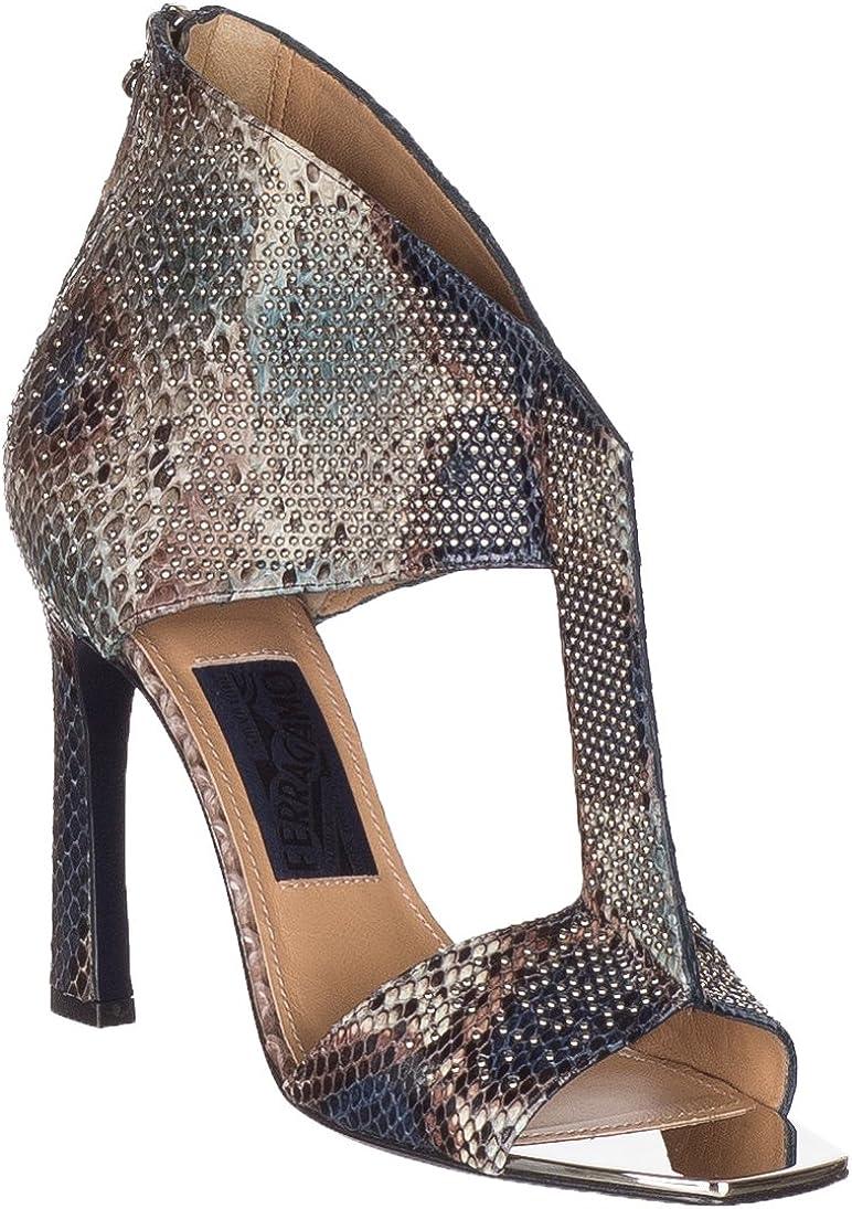 Salvatore Ferragamo Women's Pekaya Snakeskin Leather Embellished T-Strap Sandals Shoes