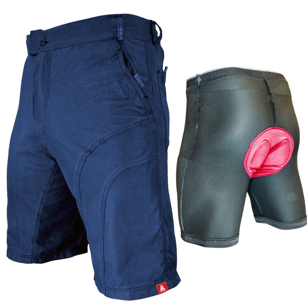 The Pub Crawler - Men's Loose-Fit Bike Shorts for Commuter Cycling or Mountain Biking, with Secure Pockets (Small, Blue - Bundle with Premium Antibacterial G-tex Padded Undershorts)