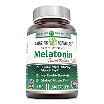Amazing Formulas Melatonin (Timed Release) – 3 Mg Tablets - Best Choice of Natural