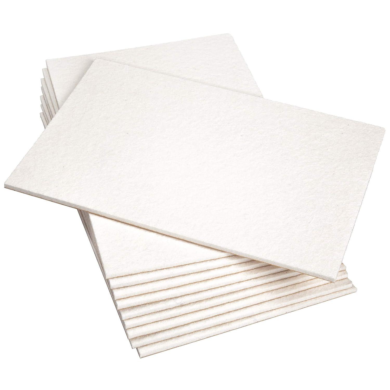 di ottima qualit/à colore bianco Adsamm rettangolari 10 fogli di feltro autoadesivi 200 x 300 mm spessore 5,5 mm