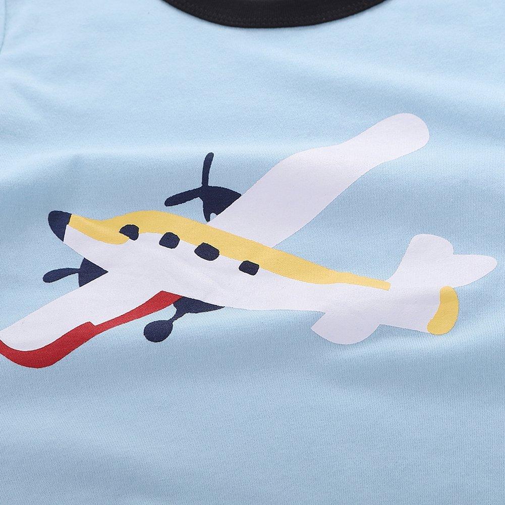 Motecity Fashion Little Boys' Summer Casual Cartoon Printed Set T-Shirt Shorts Blue Plane 2T by Motecity (Image #5)