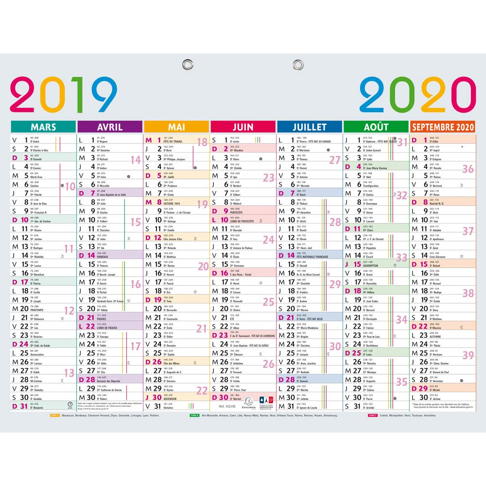 Calendrier Septembre 2020 Septembre 2019.Exacompta 34210e Calendrier Scolaire Multicolore 430x335 Mm