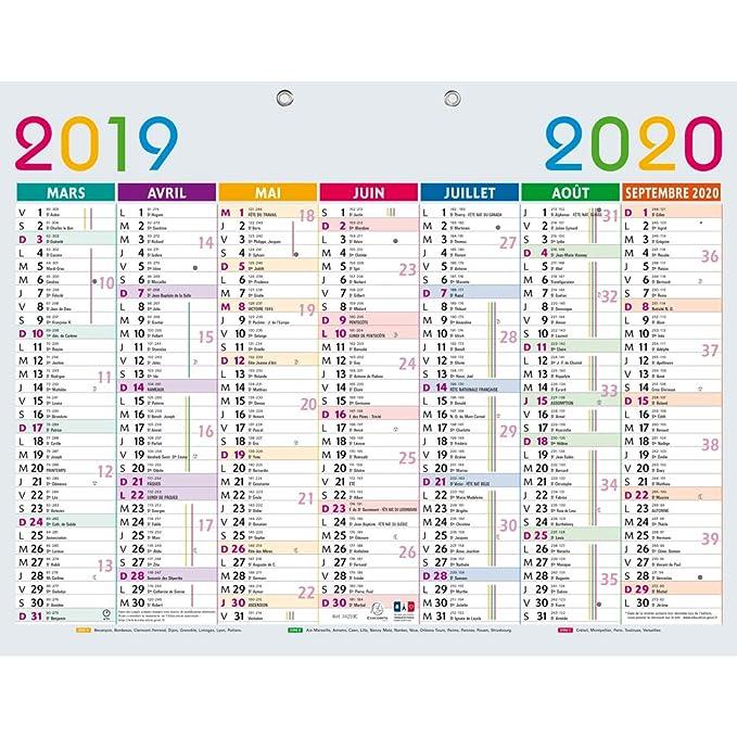 Exacompta 34210e Calendrier Scolaire Multicolore 430x335 Mm Septembre 2019 A Septembre 2020