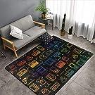 NiYoung Game Video Gaming Pattern Black Area Rugs, Bedroom Livingroom Sitting-Room Rug, Floor Pad Rugs Standing Mat, Children Play Rug Carpet Spa Bathroom Floor Mats, Throw Rugs Carpet
