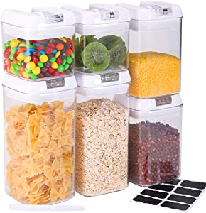 TONGLUBAO Airtight Food Storage Containers, 6 Pack Plastic Cereal Containers with Easy Lock Lids, for Kitchen Pantry Organization and Storage, Include 8 Labels and Marker