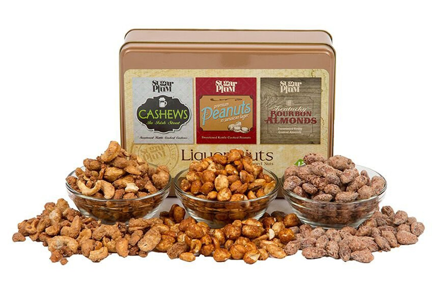 Liquor Nuts Tin - Beer & Whiskey Flavored - Gourmet Food Nuts Gift Basket for Holiday or Anytime, 16oz - Sugar Plum Chocolates by Sugar Plum Chocolates