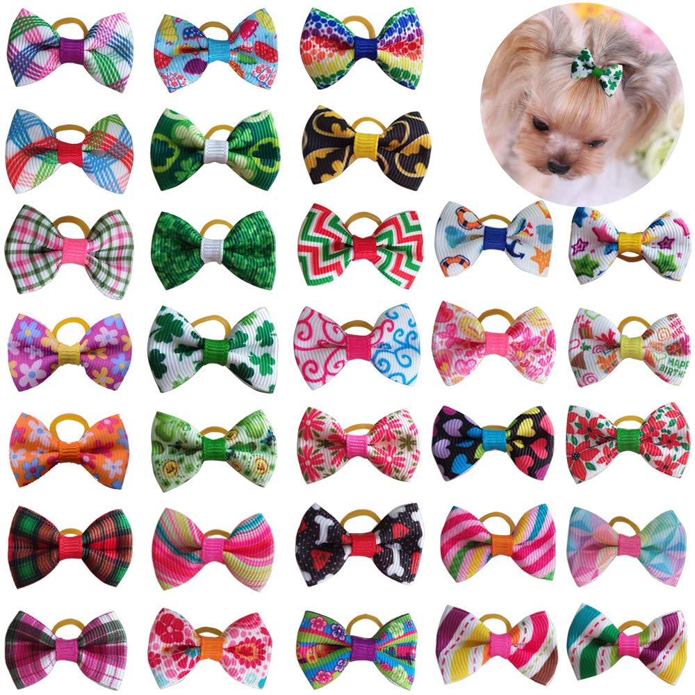 Senniea 50pcs/25pairs Spring Summer Dog Hair Bows with Rubber Bands/Clips Dog Hair Accessories Topknot (Backside with Rubber Bands)