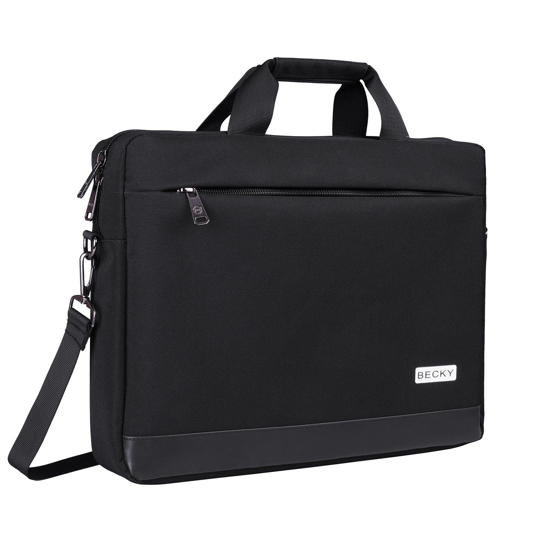 Laptop Bag, Becky 15.6 inch Laptop Briefcase, College Students Business Office Professional Computer Case for Men Women, Stylish Shoulder Messenger Bag for Notebook/Computer/Tablet/MacBook, Black