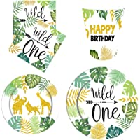 TOYANDONA 64Pcs Wild One Party Disposable Tableware Set Including 32 Paper Plates, 16 Paper Towels, 16 Paper Cups…