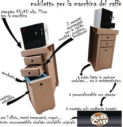 Selfcapmob - Ecomueble porta cafetera ecológica de cartón: Amazon.es: Hogar