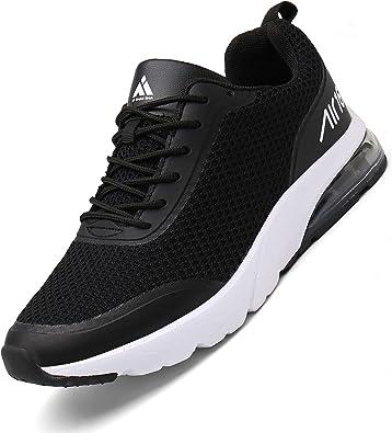 Mishansha Zapatillas de correr para hombre y mujer, amortiguación, antideslizantes, transpirables, ligeras, zapatillas de deporte, talla 36 – 46, color Negro, talla 44 EU: Amazon.es: Zapatos y complementos