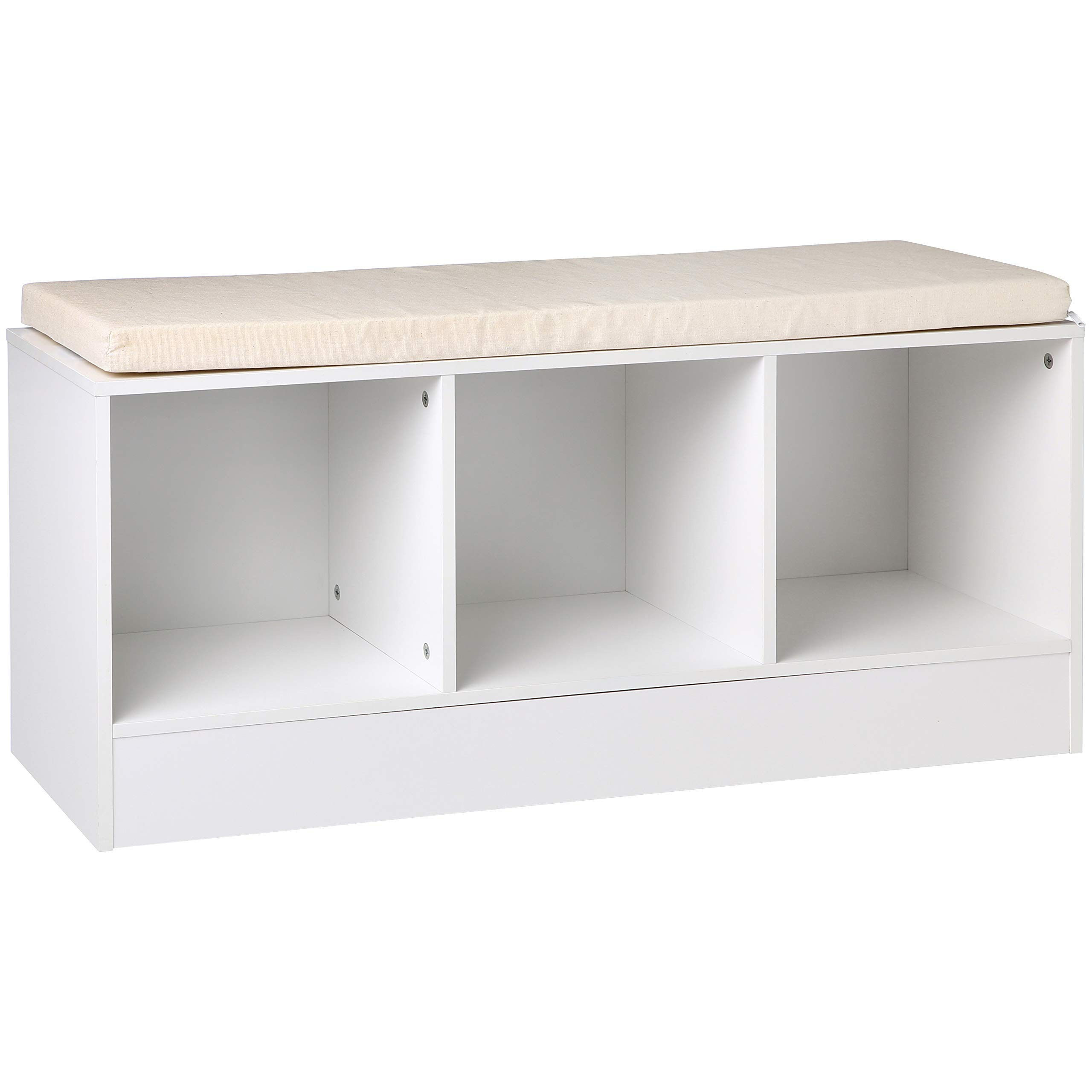 AmazonBasics 3-Cube Entryway Shoe Storage Bench with Cushioned Seat, White by AmazonBasics