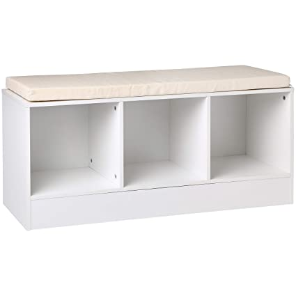 Prime Amazonbasics 3 Cube Entryway Shoe Storage Bench With Cushioned Seat White Andrewgaddart Wooden Chair Designs For Living Room Andrewgaddartcom