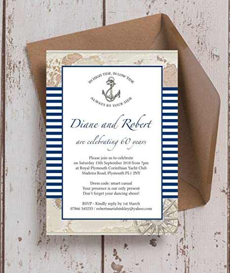 Personalised nautical themed wedding anniversary invitations with personalised nautical themed wedding anniversary invitations with envelopes pack of 10 stopboris Gallery