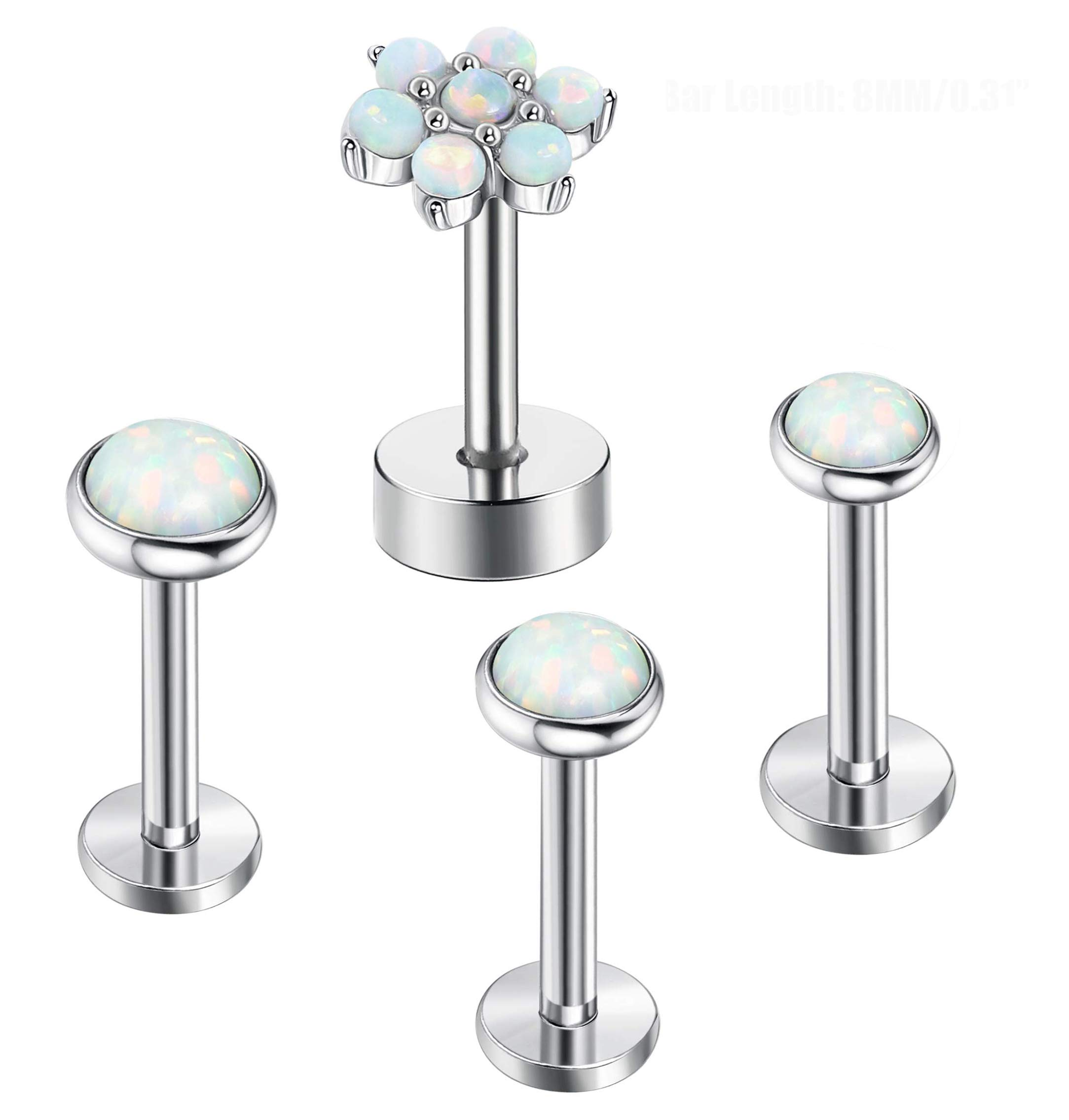 FIBO STEEL 4 Pcs 16G Stainless Steel Cartilage Stud Earrings for Women Girls Opal Targus Helix Daith Conch Ear Piercing Jewelry 6mm by FIBO STEEL