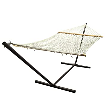 sunnydaze 2 person polyester spreader bar rope hammock with 15 foot steel stand natural amazon     sunnydaze 2 person polyester spreader bar rope      rh   amazon