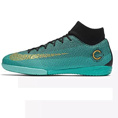 NIKE Men CR7 Superfly 6 Academy IC Indoor Soccer Shoes -Jade Black Gold Size: