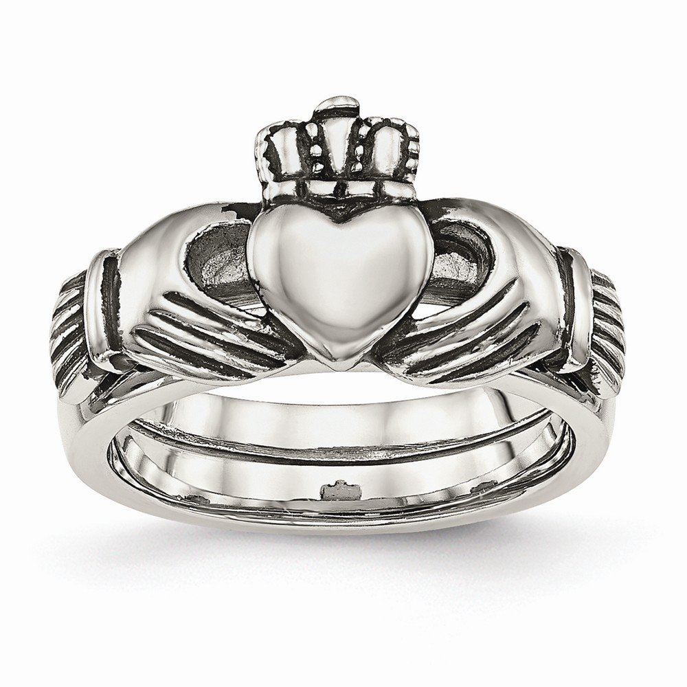 Jewelry Best Seller Stainless Steel Love, Loyalty, Friendship Claddagh Double Hinged Ring