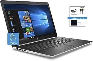"2019 HP 17.3"" HD+ Touchscreen Premium Laptop w/ Accessories | Intel Quad Core i7-8565U | 16GB DDR4 Memory | 512GB SSD | Intel UHD Graphics 620 | DVD-RW | HDMI | Bluetooth | WiFi | Windows 10 | Silver"