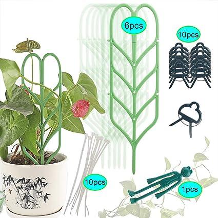 6 Leaf Shape Garden Plant Supports 10 Zip Ties Indoor Plant Trellis Set for Climbing Plants 27 PCS 1 Frog Twist Tie for DIY Potted Vine Vegetable Flower 10 Flower Lever Loop Gripper Clips